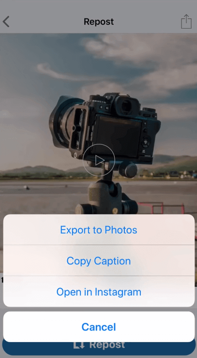 export Instagram video to Photos on iPhone