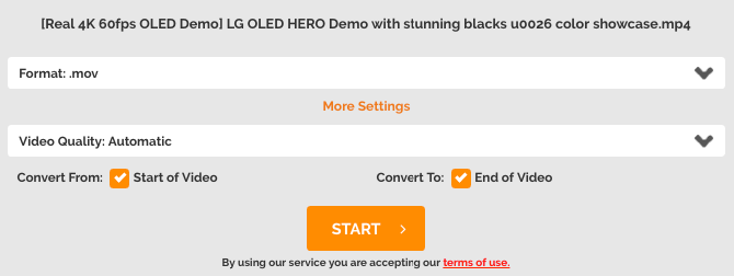 use OnlineVideoConverter to convert local video file