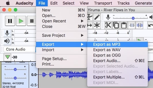 select a desired export format