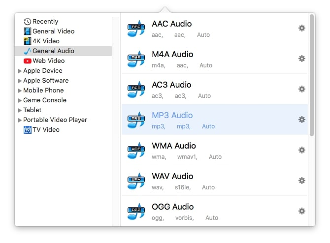 select an audio format