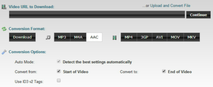 youtube to aac online with clipconverter
