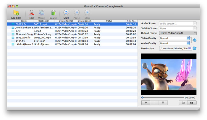 Convert FLV to FCP on Mac - Add FLV files