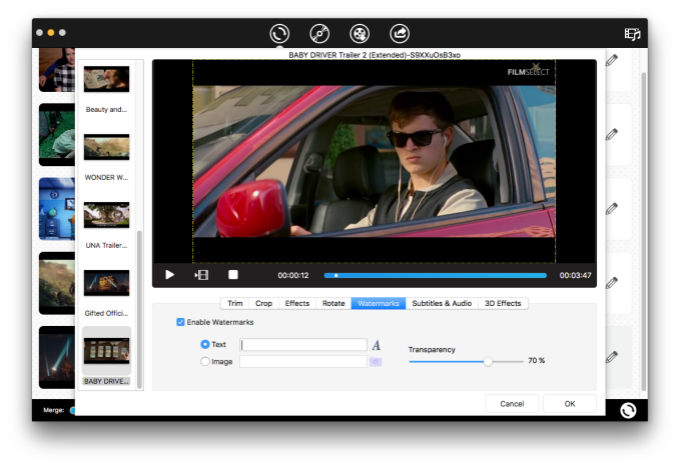 edit video using iFunia Video Converter for Mac