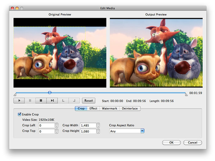 Convert MOD to MPEG on Mac - output