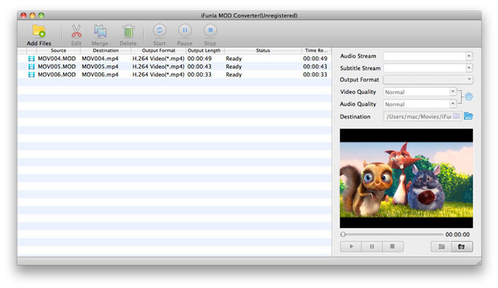 Convert MOD to MPEG on Mac - add MOD videos