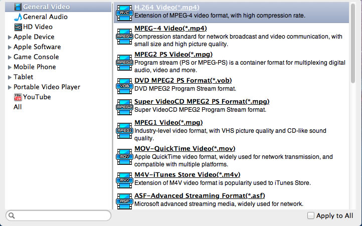 Select Common Video - MOV Video format.