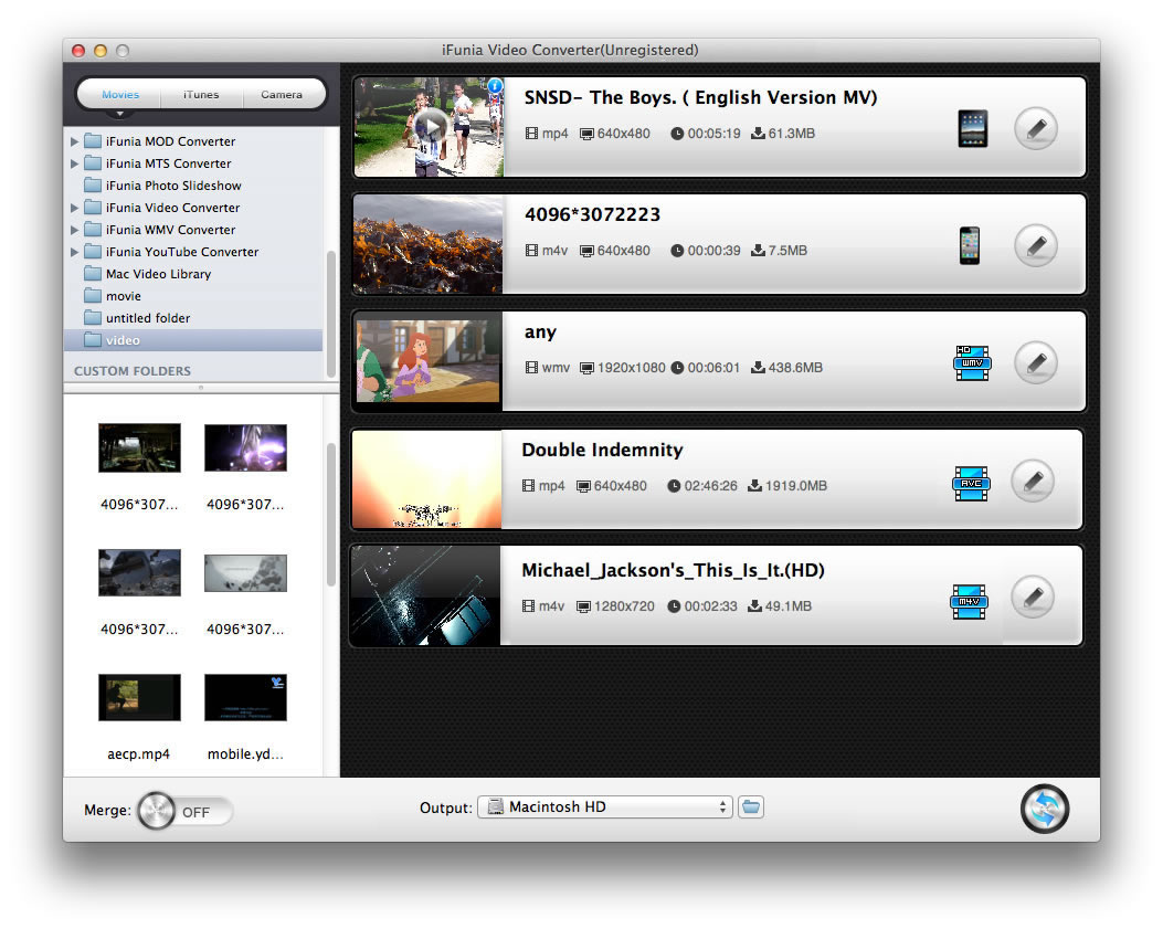 iFunia Video Converter for Mac Screenshot